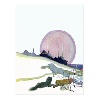 Alaskan Sled Dogs in the Snow Postcard