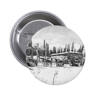 Alaskan Sled Dogs Standing Outside a Log Cabin Pinback Buttons