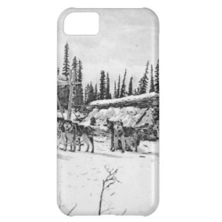 Alaskan Sled Dogs Standing Outside a Log Cabin Cover For iPhone 5C