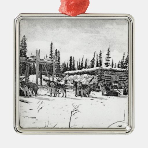 Alaskan Sled Dogs Standing Outside a Log Cabin Square Metal Christmas Ornament