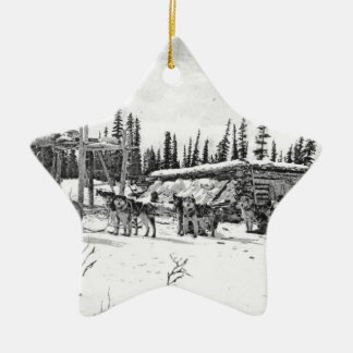Alaskan Sled Dogs Standing Outside a Log Cabin Christmas Tree Ornaments