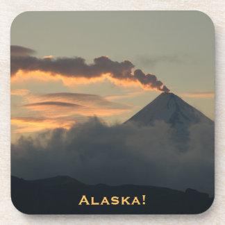 Alaskan Smoking Volcano at Sunset Beverage Coaster