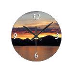 Alaskan Sunset I Beautiful Alaska Photography Round Wall Clocks
