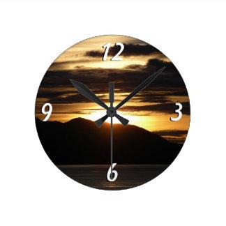 Alaskan Sunset III Beautiful Alaska Photography Round Clock