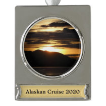 Alaskan Sunset III Silver Plated Banner Ornament