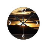 Alaskan Sunset Round Wall Clock