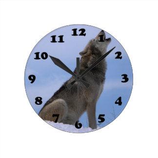Alaskan Timber Wolf Round Clock