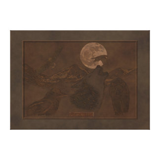 Alaskan Wilderness Wildlife Faux Leather Art Canvas Print