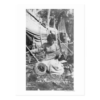 Alaskan Woman Making Snowshoes Photograph Postcard