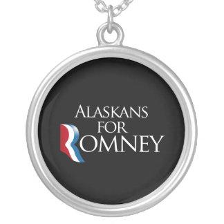 Alaskans for Romney -.png Round Pendant Necklace