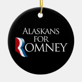 Alaskans for Romney -.png Double-Sided Ceramic Round Christmas Ornament
