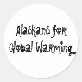 Alaskans para el calentamiento del planeta pegatina redonda