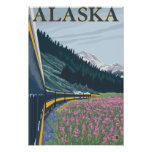 AlaskaRailroad and Fireweed Vintage Travel Poster