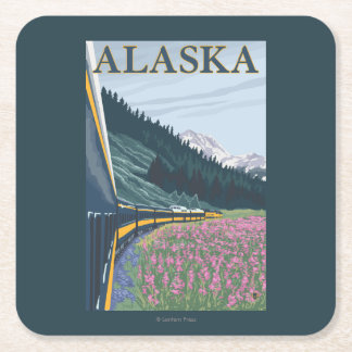 AlaskaRailroad and Fireweed Vintage Travel Square Paper Coaster