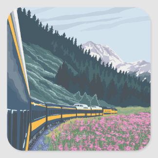 AlaskaRailroad and Fireweed Vintage Travel Square Sticker