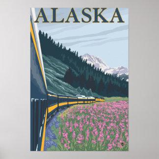 AlaskaRailroad y viaje del vintage del Fireweed Póster