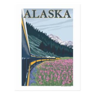 AlaskaRailroad y viaje del vintage del Fireweed Tarjeta Postal