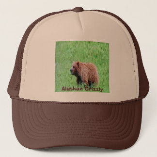 Alaskian-grizzly, on a truckers cap