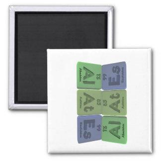 Alates-Al-At-Es-Aluminium-Astatine-Einsteinium 2 Inch Square Magnet