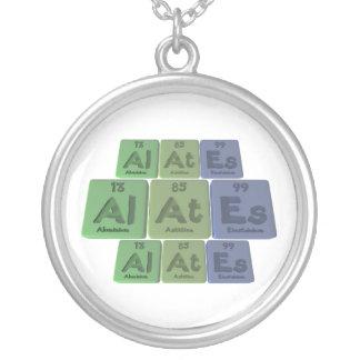 Alates-Al-At-Es-Aluminium-Astatine-Einsteinium Round Pendant Necklace