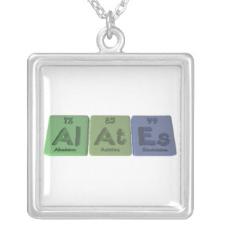Alates-Al-At-Es-Aluminium-Astatine-Einsteinium Square Pendant Necklace
