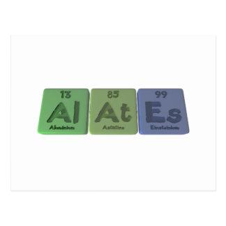 Alates-Al-At-Es-Aluminium-Astatine-Einsteinium Postcard