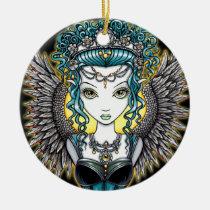alaura, angel, goddess, fairy, faery, fae, faerie, fantasy, big, eyed, art, myka, jelina, mika, angels, Ornament with custom graphic design
