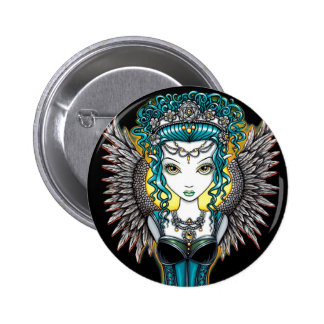 """""""Alaura"""" Gothic Guardian Angel Button"""