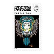 angel, gothic, couture, goddess, corset, faery, fae, fairy, faerie, fairies, fantasy, art, myka, jelina, alaura, guardian, acrylic, Stamp with custom graphic design