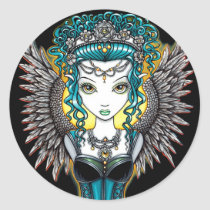 angel, gothic, couture, goddess, corset, faery, fae, fairy, faerie, fairies, fantasy, art, myka, jelina, alaura, guardian, acrylic, Sticker with custom graphic design