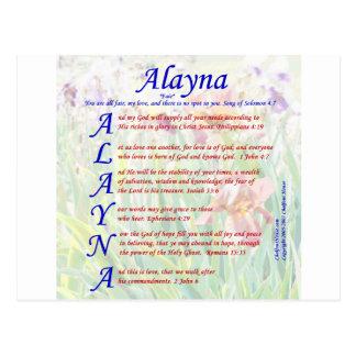 Alayna Acrositc Tarjeta Postal