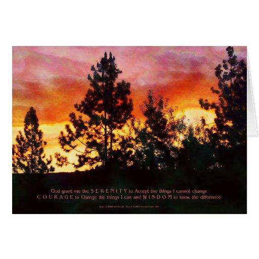 Alba del rezo de la serenidad tarjeta de felicitación