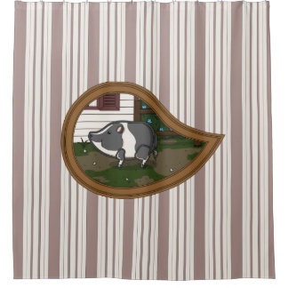 Albahaca la cortina de ducha del cerdo cortina de baño