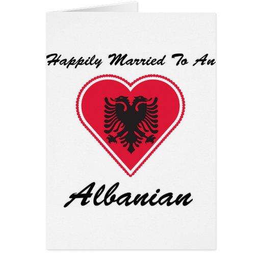 Albanés feliz casado tarjeta de felicitación