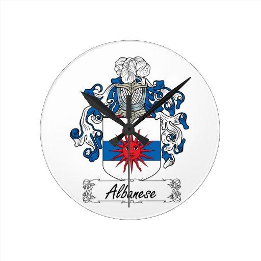 Albanese Family Crest Round Clocks