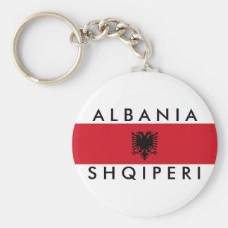 albania country long flag nation symbol name basic round button keychain