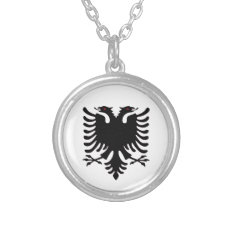 Albania Double Headed Eagle Silver Necklace at Zazzle