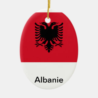 Albania Double-Sided Oval Ceramic Christmas Ornament