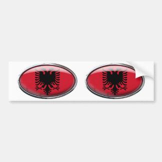 Albania Flag Glass Oval Bumper Sticker