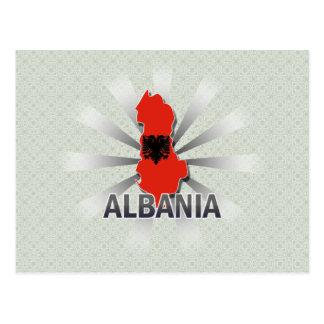 Albania Flag Map 2.0 Postcard