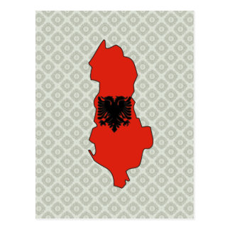 Albania Flag Map full size Postcard