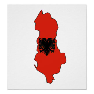 Albania Flag Map full size Poster