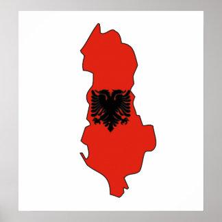 Albania Flag Map full size Poster