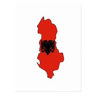 Albania flag map postcard