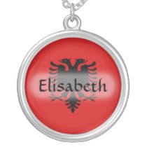 Albania Flag   Name Necklace