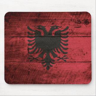 Albania Flag on Old Wood Grain Mouse Pad