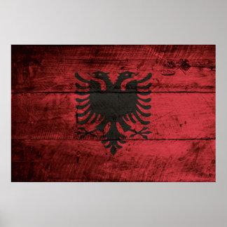 Albania Flag on Old Wood Grain Poster