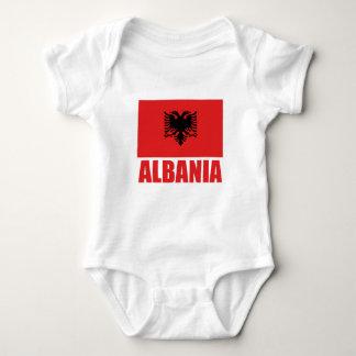 Albania Flag Red Text Baby Bodysuit