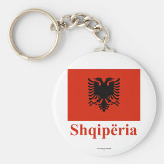 Albania Flag with Name in Albanian Basic Round Button Keychain