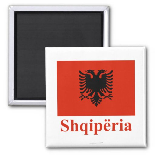 Albania Flag with Name in Albanian 2 Inch Square Magnet